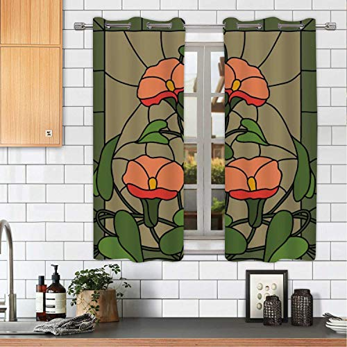 MOOCOM Garden Flowers Composition Stained Glass Vector Vector Small Window Panels,okjeff14440o for Home,W72'' x H45'' from MOOCOM