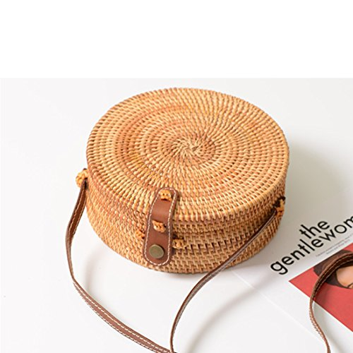 Nation Round Straw Rattan Rattan Leather Bag Handwoven Weave Bag Plain Closure HwFgdq