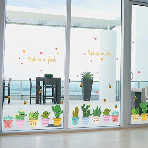 Etiqueta De Cristal Pegatina Pared Pegar Balcón Cocina Tienda De Puertas Correderas Decorada Con Lindo Planta Cactus Pequeño Viento Pastoral Fresco: Amazon.es: Bricolaje y herramientas