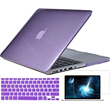"""Easygoby 3 in 1 Crystal Hard Shell Case Cover for 13-inch MacBook Pro with 13.3"""" Retina Display (Model A1425/A1502) + Keyboard Cover + Screen Protector -Purple"""