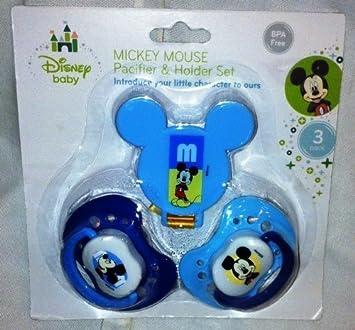 Amazon.com: Mickey Mouse Chupete & Holder Set – Azul por ...