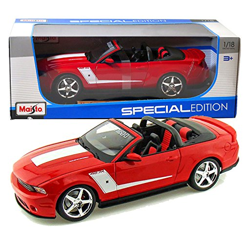 Maisto Year 2014 Special Edition Series 1:18 Scale Die Cast Car Set - Red Color Supercharged Convertible 2010 ROUSH 427R FORD MUSTANG with Display Base (Car Dimension: 10