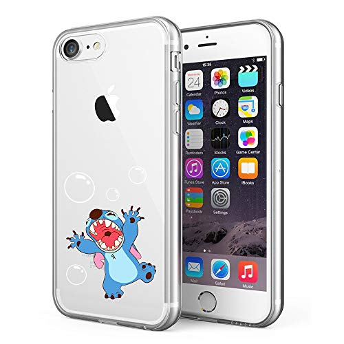 Stitch Rubber Sole (Litech™ Case for Apple iPhone 7 / iPhone 8 [Flexfit] Premium Clear Scratch-Resistant Cute Creative Artistic Design [Wireless Charging Compatible] (Stitch))