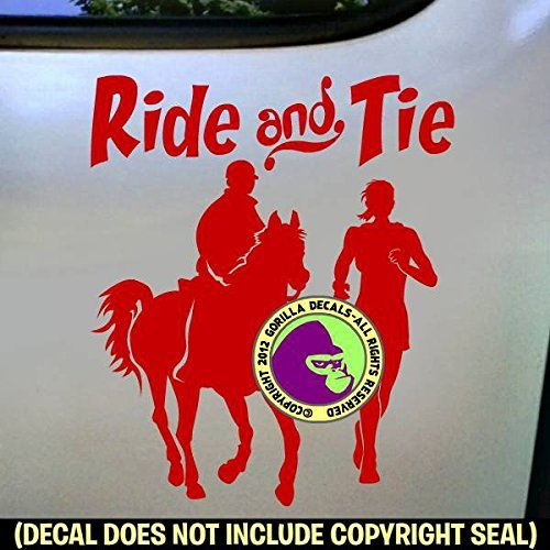 RIDE AND TIE Horse Runner and Rider Distance Vinyl Decal Sticker D