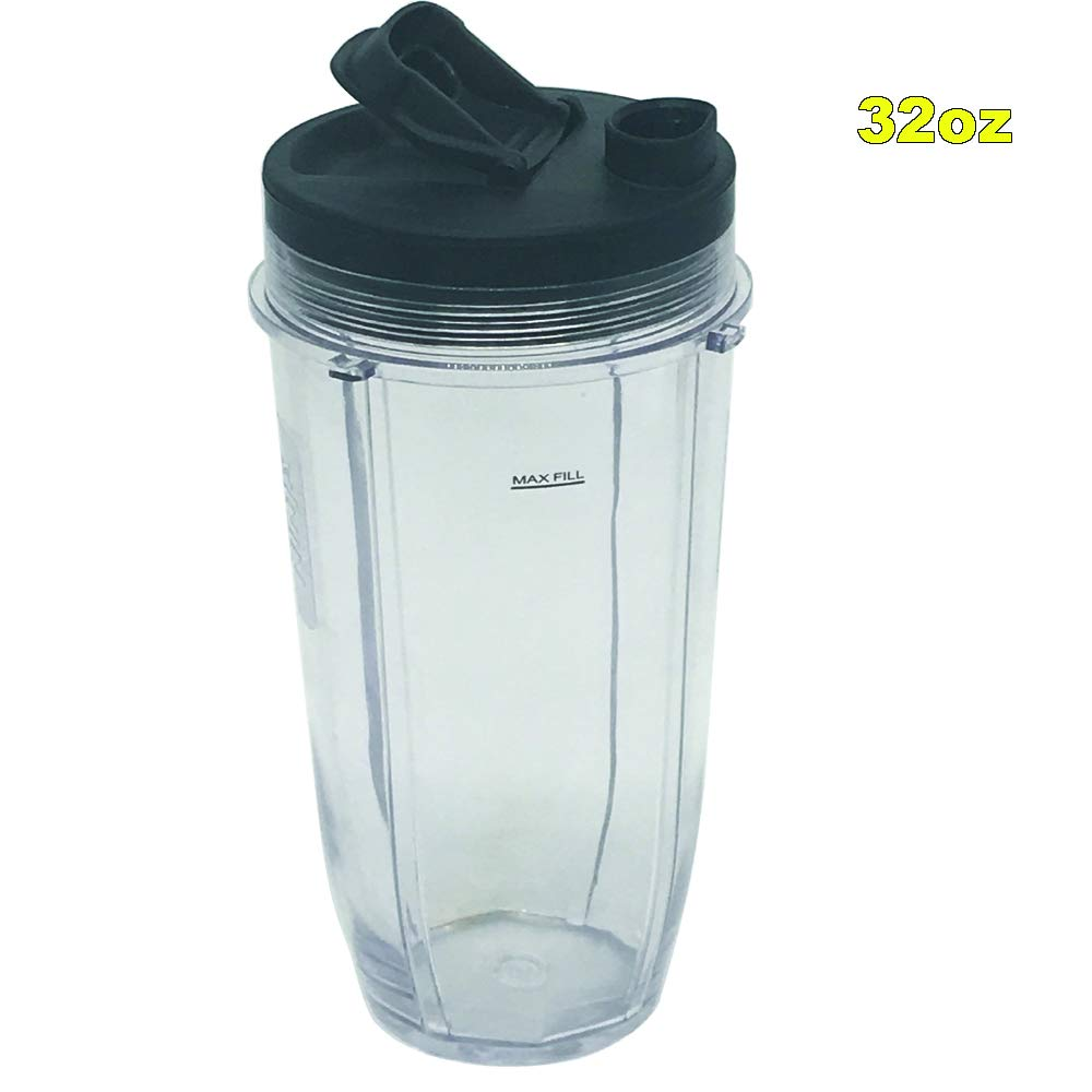 32oz Cup with spout lid Replacement Parts for Nutri Ninja Blender Auto iQ BL642 BL682 BL482 /NN102/BL450/BL480/BL2012/BL2013/universal replacement blender cup for ninja blender cups ct682sp