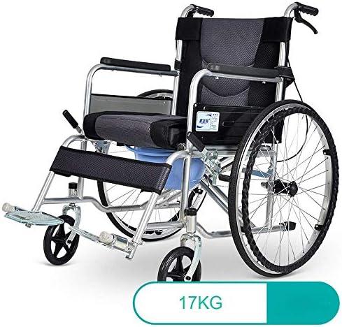 軽量の調節可能な輸送医療車椅子17kg人間工学に基づいた折りたたみ式の高度な快適な背中の脚190kgの耐荷重45 * 45cmシートとベッドサイドの便器