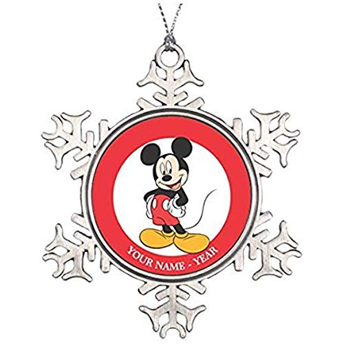 Nat999Lily Mickey Mouse 1 Ceramic Round Christmas Ornament (Mouse Mickey Round)
