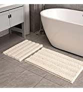Feivea Bathroom Rug Sets 2 Piece Extra Thick Chenille Mats Fluffy Soft Absorbent Non Slip Washabl...