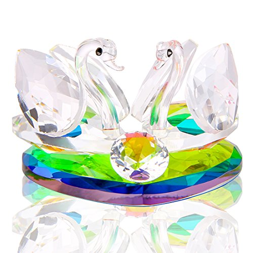 H&D Crystal Swan Statue Souvenir Collection with Love Heart Base Desktop Paperweight Decoration Wedding Favor