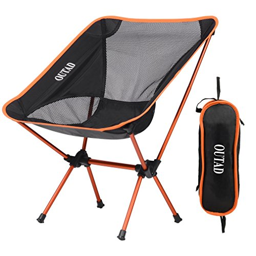 Orange Outdoor Folding Chairs (Ultralight Portable Camping Chairs, Homgrace Lightweight Comfortable Beach Outdoor Folding Chairs with Mini Carry Bag for Fishing, Hiking, Camp, Picnic, Outdoor Travel Use (Orange))