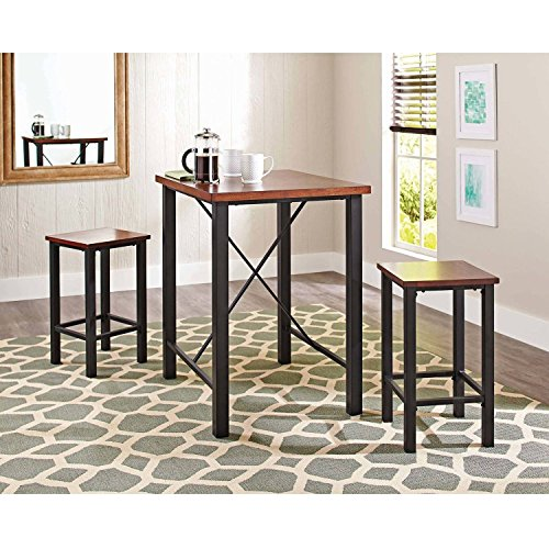 Gracelove Dinette Sets For Small Spaces Pub Table Set 3 Piece Kitchen  Furniture Chairs (US Stock)