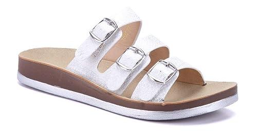 d3b171284c7449 Schuhtempel24 Damen Schuhe Pantoletten Sandalen Sandaletten weiß flach  Schnalle