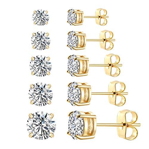FOSIR Womens Mens CZ Stud Earrings 18K Real Gold Plated Simulated Diamond Cubic Zirconia Ear Stud Set(5 Pair)