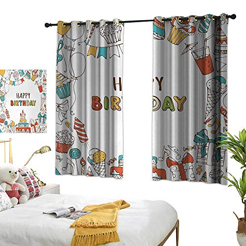 LsWOW Bedroom Curtains W55 x L45 Birthday,Hand Drawn Birthday Celebration Sweets Party Blowouts Presents Music Note Garlands,Multicolor Blackout Curtains Window Bedroom