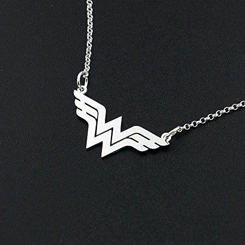 (Dainty Delicate Wonder Woman Handmade necklace Bar sterling silver Wonder Woman symbol - super hero - gift for women - girl jewelry - strong woman - amazing mom gift Diana Prince symbol )