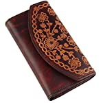 Women's Bifold Vintage Antique Cowhide Top Grain Leather Wallet,19 Card Slots, Made In USA,Snap closure