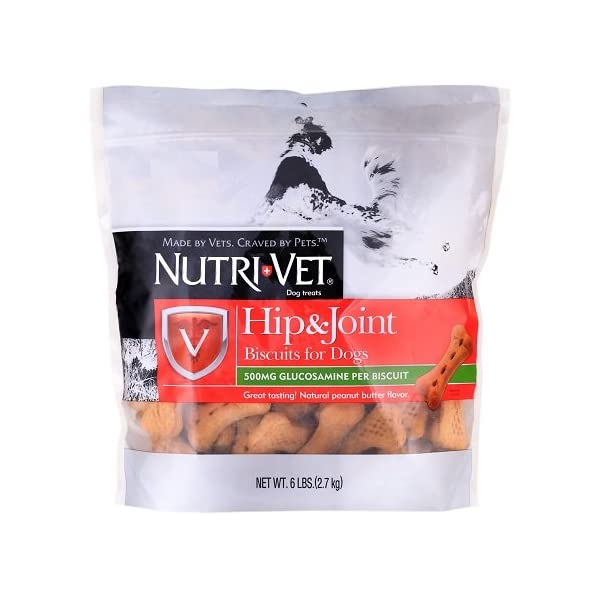 Nutri-Vet Hip & Joint Biscuits for Dogs, Peanut Butter Flavor (6 lb)