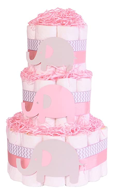 Elefante Bebé Ducha – tarta de pañales – niñas Rosa Chevron Gris Regalo Hamper