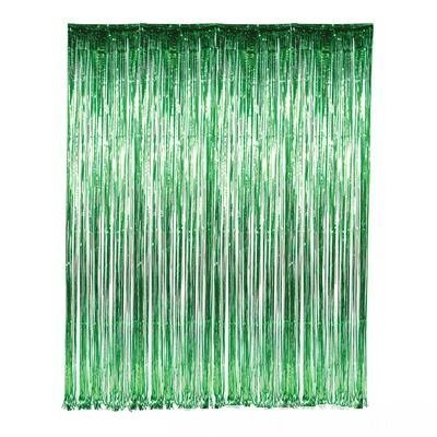 Tinsel Foil Fringe-Backdrop-6FTX8FT-Transparent White Metallic Door Window Curtain Party Decoration(Pack of 2) (Green) -