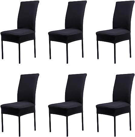 Cosyvie Custodie Copertine Fodere coprisedia elasticizzato di sedia espandibili e lavabili per protezione Sedia sala da pranzo nero, 6PCS