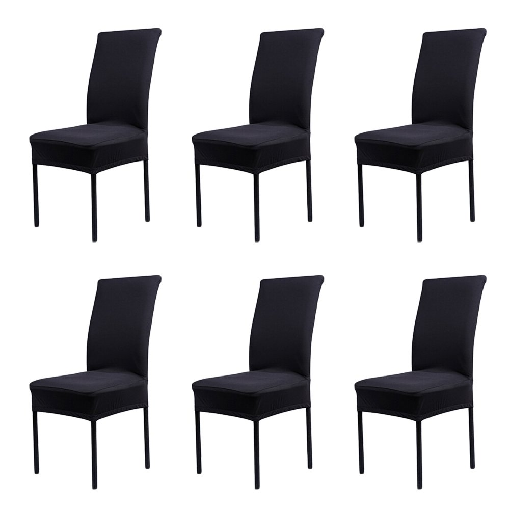 CosyVie Super Fit Universal Stretch Dining Chair Covers, Removable Washable Slipcovers for Dining Room Chairs 6 Pcs/Pack (Classical Black)