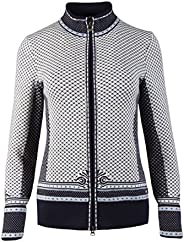 Dale of Norway Viktoria Feminine Jacket, Navy/Ice Blue/Grey Mel/Off White, Large