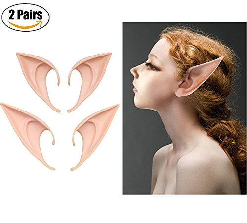 AOBOR Fairy Pixie Soft Elf Ears Cosplay Accessories Halloween Party Pointed Prosthetic Tips Ear (2 -