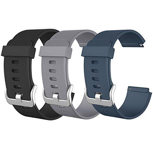 SKYLET for Fitbit Blaze Bands, Soft Replacement Wristband for Fitbit Blaze Bracelet Solid Color Wristband (No Tracker, No Frame)[3 Pack: Black&Grey&Slate]