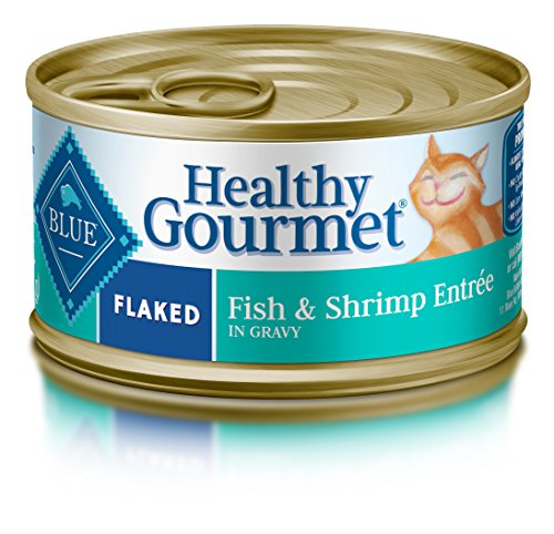 - Blue Buffalo Healthy Gourmet Natural Adult Flaked Wet Cat Food, Fish & Shrimp 3-oz cans (Pack of 24)