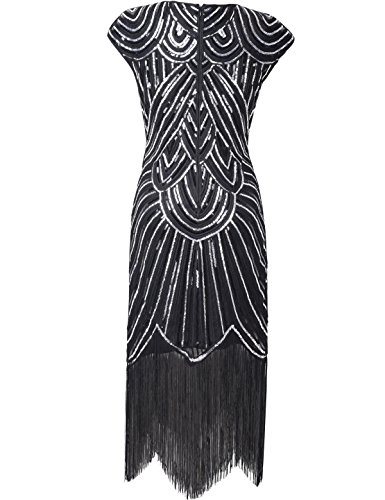 Gatsby Charleston PrettyGuide Diamant Sparkly Paillette 1920 Robe Femmes Frange Noir SRRqaUAPx