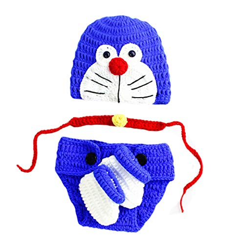 4PCS Infant Newborn Baby Boy Girl Crochet Costume Outfits Photography Props Blue Robotic Cat Hat+Tie+Pant+Shoes 0-3 -