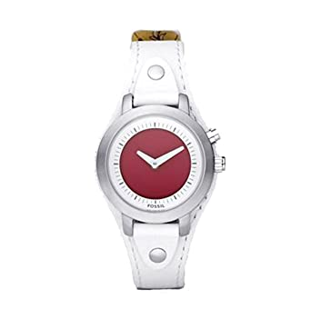fossil bg2200 ladies kaleido white leather cuff strap watch rh amazon co uk
