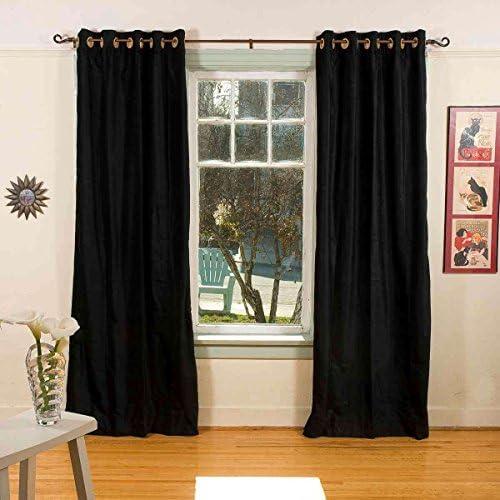 Indian Selections Lined-Black Ring Grommet Top Velvet Curtain Drape – 80W x 108L – Piece