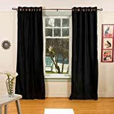Lined-Black Ring / Grommet Top Velvet Curtain / Drape – 80W x 120L – Piece