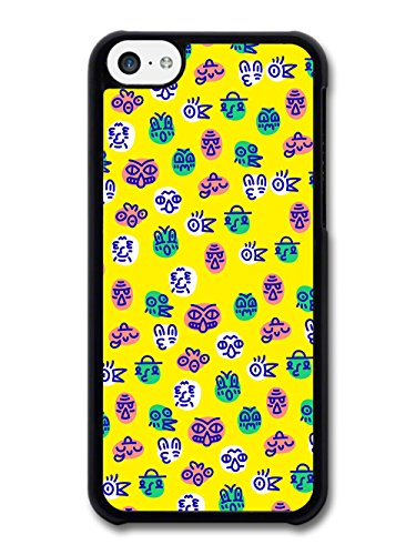 Cute Colourful Faces Illustration on Yellow Background case for iPhone 5C