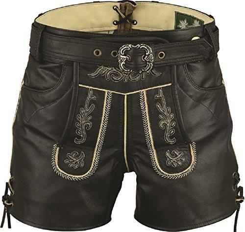 Lederhose mit Gürtel-Echt Leder Nappa antik Trachten Lederhose kurz, Damen Trachtenlederhose mit Gürtel in Schwarz (42, Schwarz)