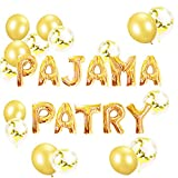 LaVenty Set of 11 Gold PAJAMA PARTY Balloons PAJAMA PARTY Banner Pajama Party Decor Slumber Party Spa Party Balloons.