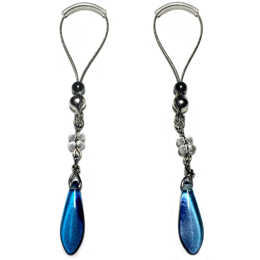 BoDivas Nipple Noose Czech Glass Dagger Non Piercing Body Jewelry Rings (Blue)