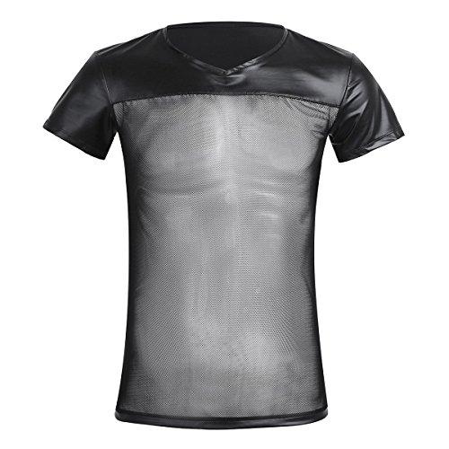 TiaoBug Men's Novelty V-Neck Leather Mesh Stitching T-Shirt Tops Clubwear Black Medium