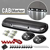 3x Clear Lens Cab Roof Top Clearance Lights+W5W 5050 White LED for 2002-2007 Chevy Silverado/GMC Sierra