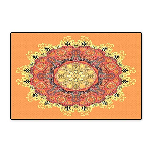 Mandala Door Mat Small Rug Floral Mandala Pattern Leaves Kaleidoscope Art Ethnic Theme Zen Inspired Bath Mat for Bathroom Mat 16