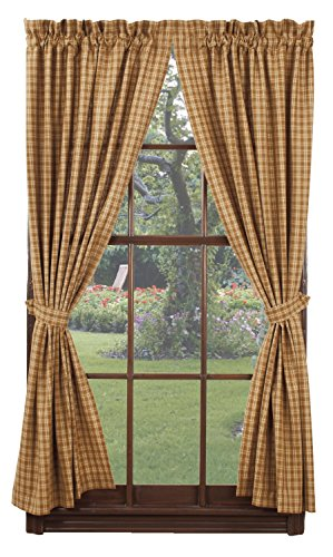 IHF Home Decor Panel Cambridge Mustard Window Treatments Unlined 100% Cotton 72 Inch x 63 Inch (Cambridge Swag)