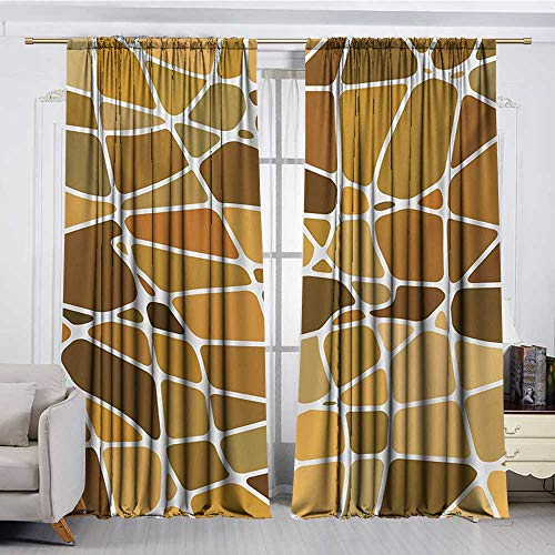 DESPKON-HOME Curtain Set of 2 Panels,Tan and Brown Stained Glass Style Mosaic with Colorful and Abstract Pieces Fractal Pattern Insulating Darkening Curtains (108W x 72L inch,Multicolor) Atlanta Braves Stained Glass