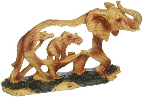 StealStreet SS-UG-MMD-194, 4.5 Inch Elephant in The Wild Woodlike Bust Scene Carving Figurine