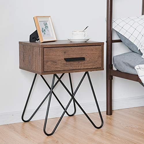 COSTWAY Retro Bedside Table, Accent Solid Nightstand End Table with Steel Leg and Handled Drawer, for Living Room…