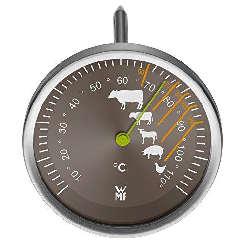 WMF Bratenthermometer Scala mit Markierung der empfohlenen Garpunkte für Rind, Kalb, Lamm, Schwein und Geflügel.