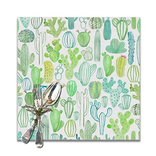 NiYoung Kitchen Placemats Heat-Resistant Stain Resistant Large Tablemats for Kitchen Table, Anti-Skid Insulation Hot Mat (6 Pieces, Watercolor Various Cactus Place Mat)