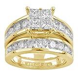 14k Yellow Gold Princess Quad Diamond Bridal Wedding Ring Set (3cttw, H-I Color, I1 Clarity), Size 7