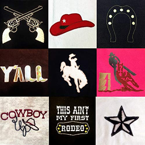 Rodeo and Cowboy Machine Embroidery Design Set: 9 Designs in Several Variations, Sizes and formats