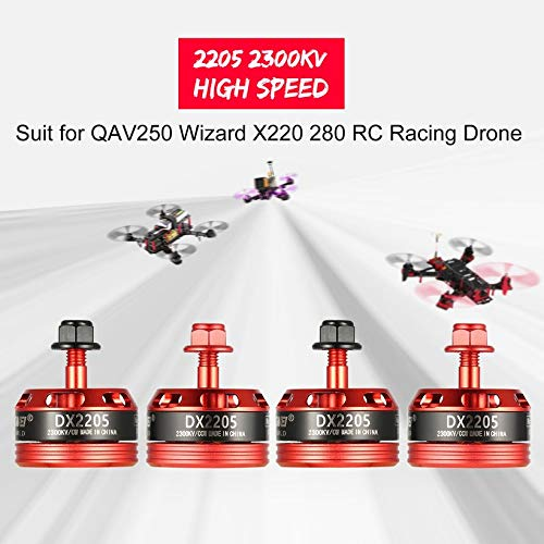 Wikiwand 4Pcs DX2205 2300KV 2-4S CW/CCW Brushless Motor for RC Racing Drone QAV250 280 by Wikiwand (Image #2)